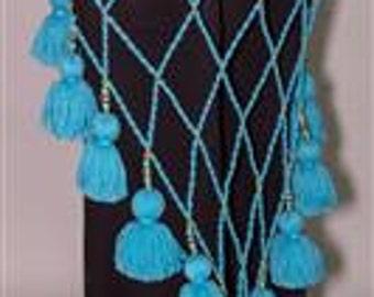 Tribal Lattice  Multi Yarn Tassel Belt