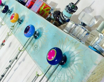 Necklace holder /jewelry storage /reclaimed wood home decor /wall coat rack hanging makeup organizer sunflowers 5 hand-painted knobs 4 hooks