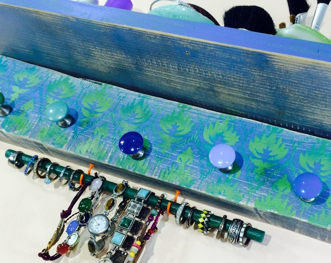 Pallet wood hanging shelf /floating shelves reclaimed wood jewelry storage wall makeup organizer stenciled ikat 5 knobs 2 hooks bracelet bar