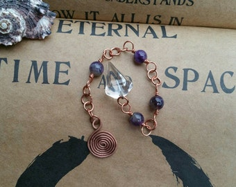 Hand-crafted Pendulum || Quartz | genuine gemstones | Fibonacci infused | hammered copper Primordial Spiral | divination