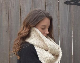 Chunky Hand Knit Infinity Scarf // Cream Gold Sparkle  // Skaneateles Infinity