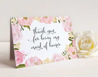 Thank You For Being My Bridesmaid Card Set - Bridesmaid Gift - Maid of Honor Thank You Card - Personalized A2 Card Set With Envelope