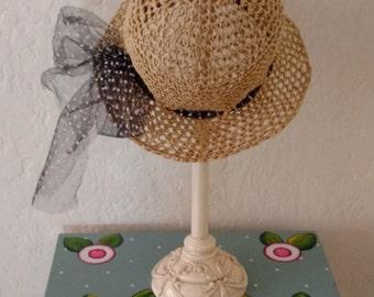 Straw hat women/newly handmade/ crochet summer hat/raffia hat/switch out ribbon option!/adjustable fit hat/cute hat/ ribbon tie straw hat