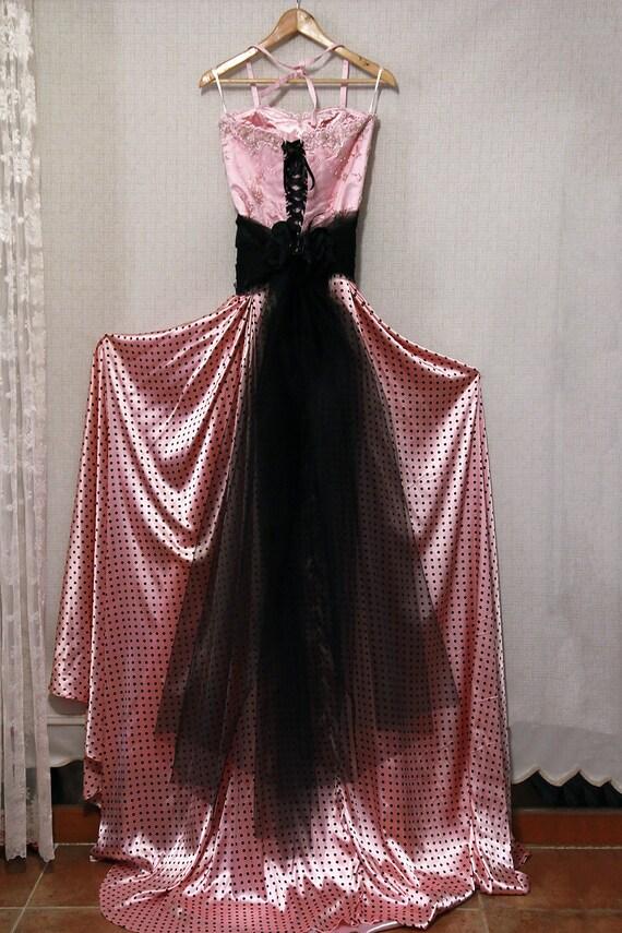 Pink bridal\pink Bride's sister dress/alternative wedding dress/engagement dress/bridesmaid/ evening prom/beaded and polka-dot