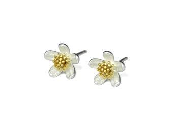Daisy Flower Stud Earrings, 925 Sterling Silver Flower Earrings