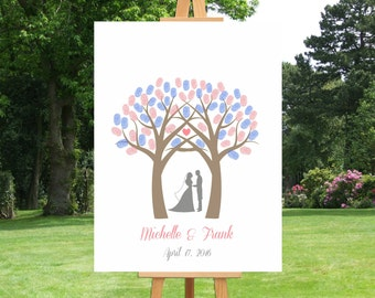 Wedding Tree Fingerprint Guest Book Wedding Alternative Guest Book Tree Guest Book Gift for Wedding Bridal Shower Guest Book - 45077