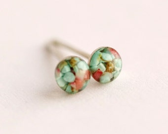 4mm Turquoise and Red Coral Stud Earrings. Tiny Turquoise Studs. Tiny Turquoise Earrings Turquoise Studs Turquoise Stone Earrings