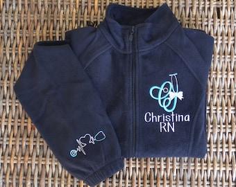 New!! Nurse Scope-Alphabet Fleece Jacket, Front & Cuff,  2 Day Shipping!!