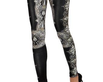L1071I Luxe skinny pants/ Crystal-print neoprene pants/ Slim-effect neoprene pants