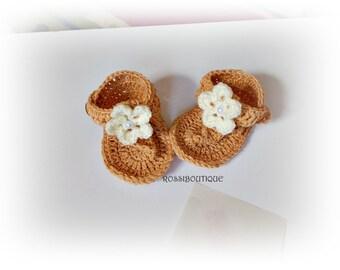 Baby Flip Flops, Crochet Baby Flip Flops, Baby Sandals, Brown sandals, , Summer Baby Shoes, Crochet Baby Sandles, Girl Sandals