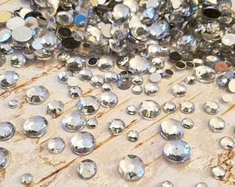 ON SALE Flatback Rhinestones, Assorted Sizes, Clear Acrylic Crystal Gem Flat Back, Embellishments, Bling, Craft Supply, Choose 50 pc or 100