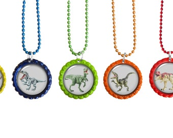 Dinosaur Boys Party Favors Set of 5  Necklace, Keychains, or Zipper Pulls