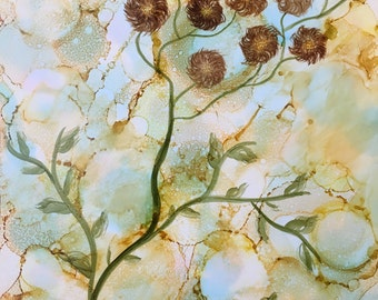Handmade Original Alcohol Ink Painting--Small Brown Puffy Flowers With Vines--9x12 on Yupo Paper--OOAK--Unique--Great Gift--Nature Inspiered