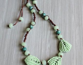 Handmade necklace-Necklace Handmade in Italy-Macrame Brown cotton yarn and gemstone swarovski green-leaves macrame.