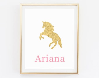 Gold glitter unicorn, Custom Name Nursery Wall Art, Unicorn Nursery Print, Unicorn Print, Gold and Pink Nursery, Unicorn party printables
