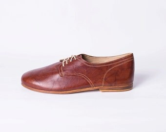 Mens Leather Shoes with Leather Soles (Rugged Brown Color)