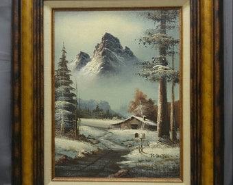 Old vintage artist signed original mountain landscape painting