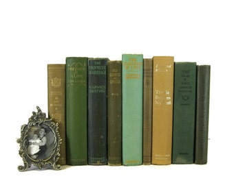 Green Brown Tan  Antique Books , Antique Book Bundle ,  Decorative Books , Wedding Prop , Photo Prop ,  Vintage Books , Old Books