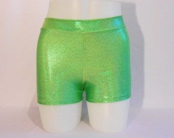 Booty Shorts - Lime Green Mystique Lycra - Roller Derby - Mid Rise waist - Plus Size Available