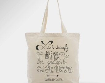 Tote bag with message, quote, typography