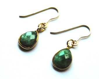 Green aventurine earrings, drop earrings, gold filled earrings, aventurine earrings