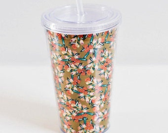 Gold Floral Pattern Print Watercolor Bouquet Illustrated Interchangeable 16 oz. Acrylic Double-Wall Tumbler Drink Cup