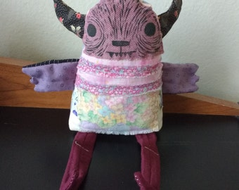 Ragdoll Plush Monster - Pink and purple - ooak