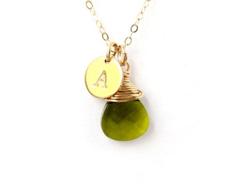 August birthstone necklace, Swarovski teardrop peridot briolette crystal 14K Gold filled initial necklace August birthday gift gold necklace