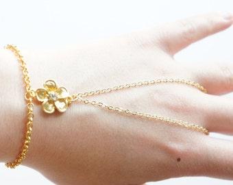 Gold Slave Bracelet, Gold Chain Bracelet, Charm Bracelet, Harem Bracelet, Hand Chain Bracelet, Boho Bracelet, Beaded Bracelet