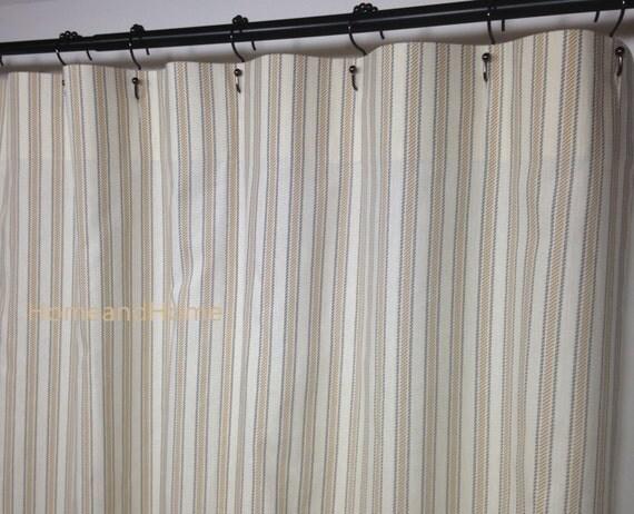 Stripe Shower Curtain Ticking Boulevard Grey Tan Ivory Long