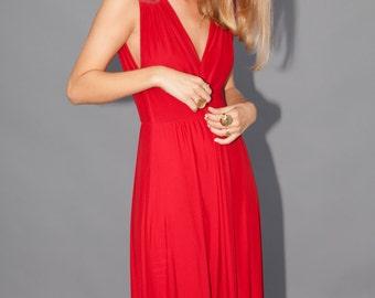 Red V neck chiffon evening gown - bridesmaids dress