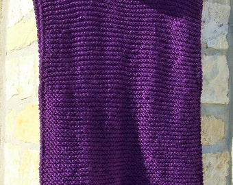 Hand knitted tunic - wool tunic - Longline sweater - Sleeveless tabard  -Cowl neck jumper - Ladies purple knit sleeveless tunic / sweater