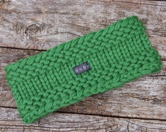 Pine Green Merino Wool Headband/Ear Warmer. Thick and chunky Hand Knit Head/Neck Warmer by HoBo Handmade. Gift for Men/Women S/M/L/XL Unisex