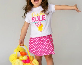 Chicks Rule Easter OUTFIT Shirt & Polka Dot Pink Skirt - 0-24 months 2-5/6T