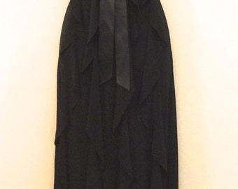 Black Vertical Ruffle Gown                        VG139