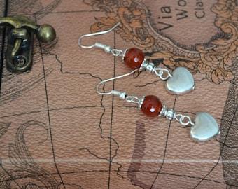 Carnelian Earrings, Silver, Drop, Dangle Earrings, Heart Earrings, Valentine Gift Idea (E83)
