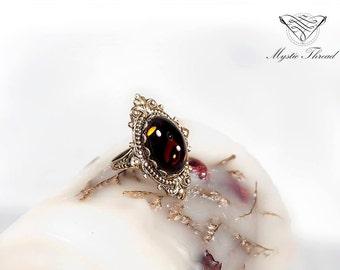 Smoke topaz gem gothic victorian ring-gothic ring-victorian ring-vintage ring-smoke topaz ring-adjustable ring-bronze ring-elegant ring