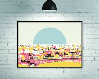 Pop art print, pop art poster, pop art, urban art, city landcape, city skyline, city view, city print, rooftop view, urban design, giclee