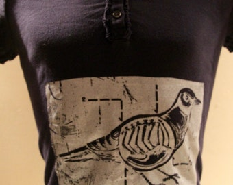 Navy Blue Polo printing for woman with design of skeletal pigeon