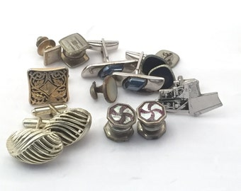 Vintage cuff links, lot of cuff links, vintage mens cufflinks, cufflinks, for your crafts, Pioneer cuffs, Leavens Attleboro, tractor