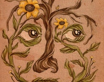 Tree with Sunflowers Surreal Portrait, Illustration Art Print