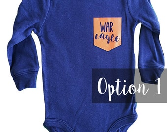 War Eagle Pocket Onesie, Auburn University Onesie