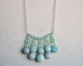 Amazonite Statement Necklace, Beaded Necklace, Semi Precious Necklace