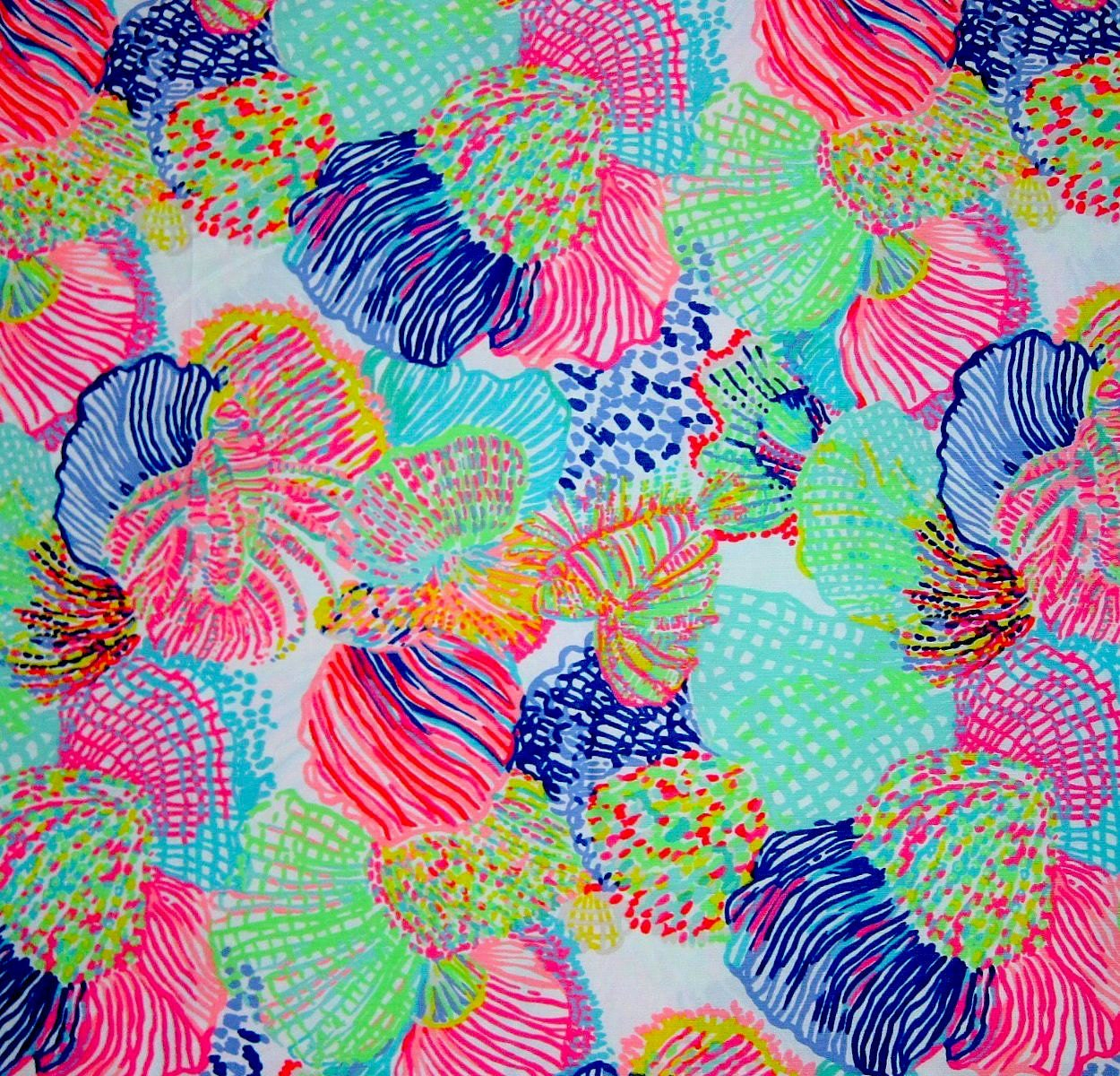 Lilly Pulitzer Fabric Roar Of The Seas Multi Summer 2016 Fabric 18x18 Or 18x9 Lilly