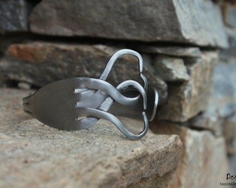 Fork bracelet - Double heart bracelet - Love fork bracelet - Fork bangle - Fork jewelry