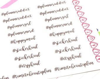 Hash Tags - Planner Themed (Glossy or Matte Stickers)