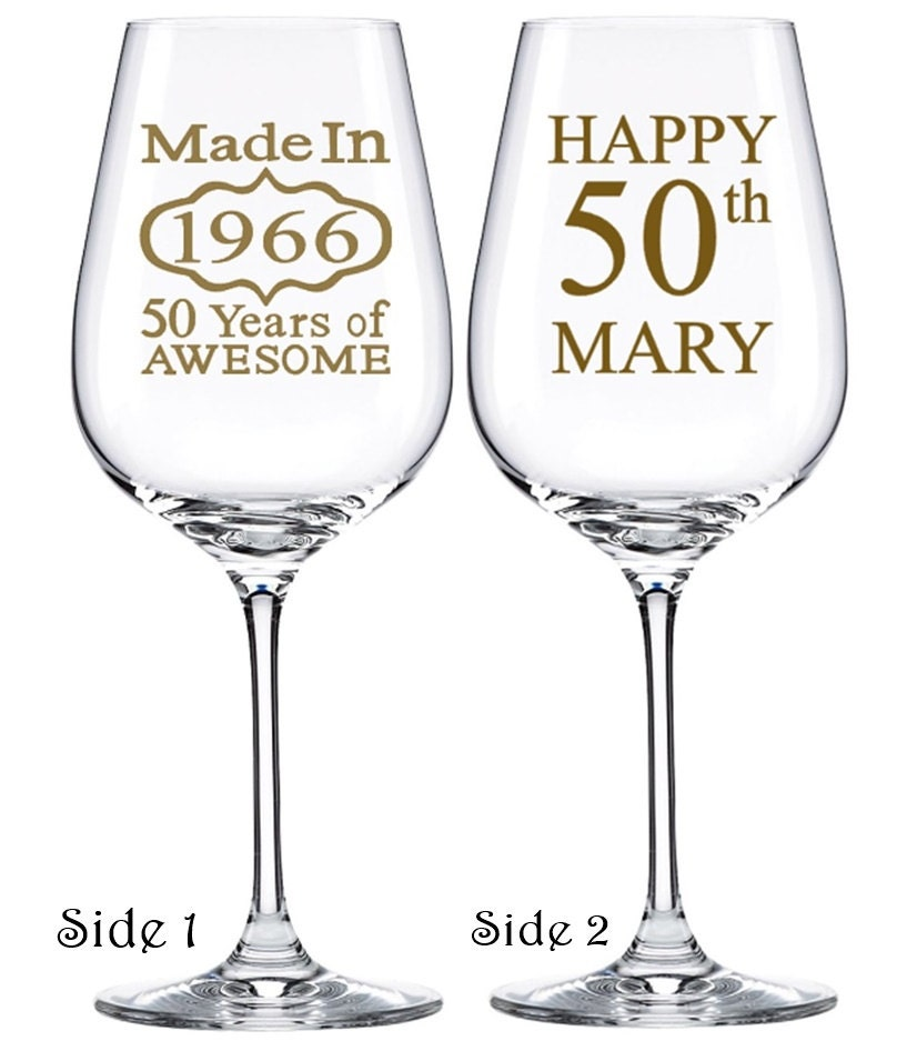 50th Birthday Glasses Birthday Wine Glasses By