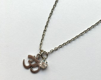 Silver Om/Ohm Charm Necklace