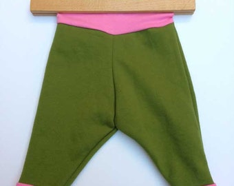 Baby ecological soft khaki and pink pants