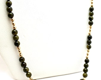 Native American 14K Gold Wyoming Jade Beads Necklace Touchine